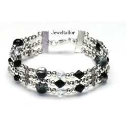 Black Sparkly Crystal Bracelet & Earrings Jewellery Making Kit + FREE Luxury Gift Bag & Optional Pliers ~ A Perfect Gift Or Treat