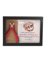 NEW!  Sunset Orange Bracelet Jewellery Making Gift Set With Premium Cutting Pliers ~ Includes Wire For Up To 10 Bracelets, Mixed Beads,Instructions + Free Gift Box