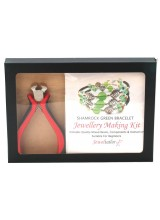 NEW! Shamrock Green Bracelet Jewellery Making Gift Set With Premium Cutting Pliers ~ Includes Wire For Up To 10 Bracelets, Mixed Beads,Instructions + Free Gift Box