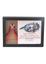 NEW! Purple Haze Bracelet Jewellery Making Gift Set With Premium Cutting Pliers ~ Includes Wire For Up To 10 Bracelets, Mixed Beads,Instructions + Free Gift Box