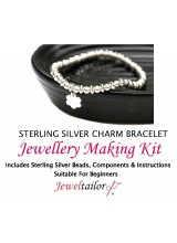 Stylish Sterling Silver Flower Charm Bracelet Jewellery Making Kit + FREE Luxury Gift Bag ~ A Perfect Bridesmaid, Birthday Or Special Occasion Gift