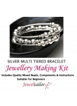 NEW! Silver Tiered Bracelet Jewellery Making Kit With Wire For Up To 10 Bracelets, Mixed Beads, Instructions + FREE Luxury Gift Bag & New Optional Pliers