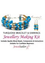 NEW! Turquoise Gemstone Bracelet & Earrings Jewellery Making Kit + FREE Luxury Gift Bag & Optional Pliers~ A Perfect Gift Or Treat