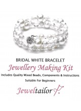 NEW! Bridal White Bracelet Jewellery Making Kit With Wire For Up To 10 Bracelets, Mixed Beads, Instructions + FREE Luxury Gift Bag & New Optional Pliers
