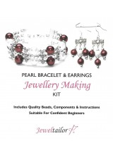 Cranberry & Ivory Pearl Bracelet & Earrings Jewellery Making Kit + FREE Luxury Gift Bag & Optional Pliers~ A Perfect Gift Or Treat