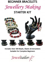 NEW! Beginner Bracelets Jewellery Making Starter Kit ~ Make Up to 15 Bracelets With 300+ Beads, Strong Elastic, Colour Instructions + Free Luxury Gift Bag~Ideal For Parties, Gifts Or A Personal Treat