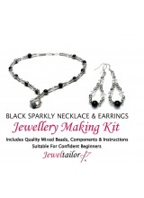 Black Sparkly Crystal Necklace & Earrings Jewellery Making Kit + FREE Luxury Gift Bag & Optional Pliers~ A Perfect Gift Or Treat
