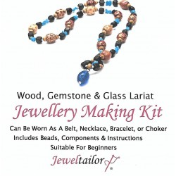 NEW! Natural Ethnic Wood, Gemstone & Glass 4 In 1 Lariat  ~ Wear As Necklace, Belt, Choker Or Bracelet + FREE Luxury Gift Bag & Optional Pliers
