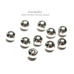 NEW! 10 Silver Plated Brass Half Drilled Round Beads 4mm ~ Ideal As Memory Wire End Caps & Stud Earrings Components