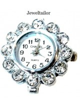 NEW! 1 Quality Silver Plated & Rhinestone Crystal Quartz Watch Face 26mm~ Create Your Own Bespoke Timepiece