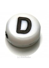 NEW! 5 Letter D White Round Alphabet Beads 7mm ~ Ideal For Name Bracelets, Card Making & Other Craft Activities