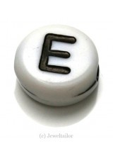 NEW! 5 Letter E White Round Alphabet Beads 7mm ~ Ideal For Name Bracelets, Card Making & Other Craft Activities