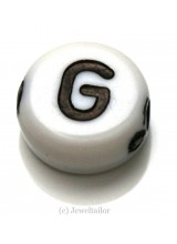 NEW! 5 Letter G White Round Alphabet Beads 7mm ~ Ideal For Name Bracelets, Card Making & Other Craft Activities