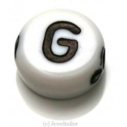 NEW! 5 Letter G White Round Alphabet Beads 7mm ~ Ideal For