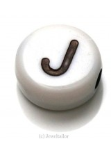 NEW! 5 Letter J White Round Alphabet Beads 7mm ~ Ideal For Name Bracelets, Card Making & Other Craft Activities