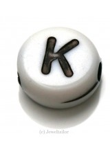 NEW! 5 Letter K White Round Alphabet Beads 7mm ~ Ideal For Name Bracelets, Card Making & Other Craft Activities