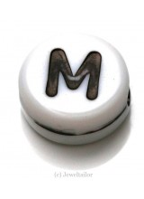 NEW! 5 Letter M White Round Alphabet Beads 7mm ~ Ideal For Name Bracelets, Card Making & Other Craft Activities