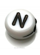 NEW! 5 Letter N White Round Alphabet Beads 7mm ~ Ideal For Name Bracelets, Card Making & Other Craft Activities