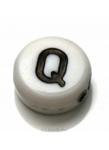 NEW! 5 Letter Q White Round Alphabet Beads 7mm ~ Ideal For Name Bracelets, Card Making & Other Craft Activities