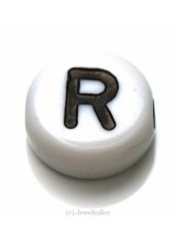 NEW! 5 Letter R White Round Alphabet Beads 7mm ~ Ideal For Name Bracelets, Card Making & Other Craft Activities