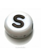 NEW! 5 Letter S White Round Alphabet Beads 7mm ~ Ideal For Name Bracelets, Card Making & Other Craft Activities