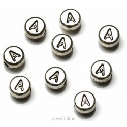 NEW! 1 Letter A Quality Silver Plated Round Alphabet Bead 7mm ~ Ideal For Occasion Name Bracelets, Card Making & Other Craft Activities