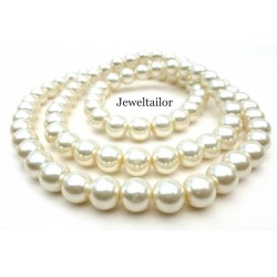 NEW! 20 Ivory Round Glass Pearl Beads 6mm With High Sheen Finish ~ FREE BEADS