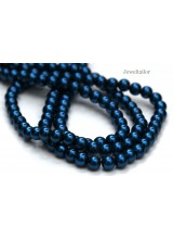 NEW! 50 Indigo Blue Round Glass Pearl Beads 8mm With High Sheen Finish ~  Jewellery Making Essentials