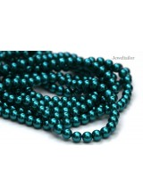 NEW! 50 Teal Round Glass Pearl Beads 8mm With High Sheen Finish ~  Jewellery Making Essentials