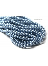 NEW! 50 Marine Blue Round Glass Pearl Beads 8mm With High Sheen Finish ~  Jewellery Making Essentials