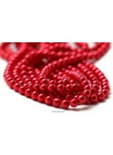 NEW! 50 Salsa Red Round Glass Pearl Beads 8mm With High Sheen Finish ~  Jewellery Making Essentials