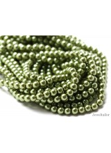 NEW! 50 Apple Green Round Glass Pearl Beads 8mm With High Sheen Finish ~  Jewellery Making Essentials