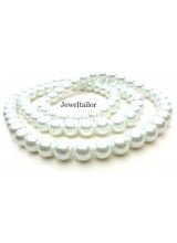 NEW! 50 Ice White Round Glass Pearl Beads 8mm With High Sheen Finish ~  Jewellery Making Essentials