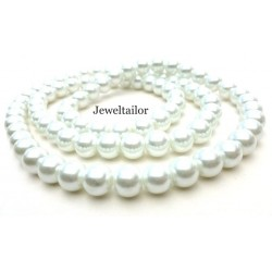 50 Ice White Round Glass Pearl Beads 8mm With High Sheen Finish ~  Jewellery Making Essentials