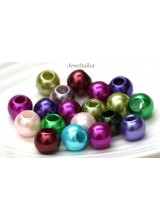 NEW! 20-100 Mixed Large Hole Acrylic Pearl Rondelle Beads 12mm ~ Ideal For Easy Stringing Or Hair Beads