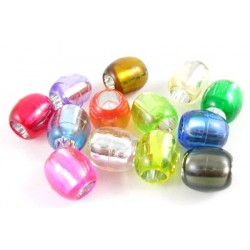 20 Mixed Large Hole Foil Lined Acrylic Barrel Beads 13mm ~ Ideal For Easy Stringing Crafts Or Hair Beads