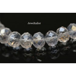 1 Strand of 72 Clear Crystal AB Faceted Abacus Glass Beads 10mm  ~ Jewellery Making Essentials