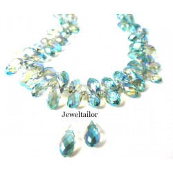 NEW! 20 Sparkly Aquamarine Faceted Teardrop Glass Beads 13mm ~ Top Drilled With AB Electroplate Finish