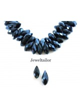 NEW! 20 Sparkly Midnight Jet Faceted Teardrop Glass Beads 13mm ~ Top Drilled With Electroplate Finish
