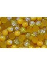 NEW! 50g Primrose Yellow Glass Bead Mix 8mm With Frosted, Painted & Crackle Styles ~ Ideal For Vibrant Designs