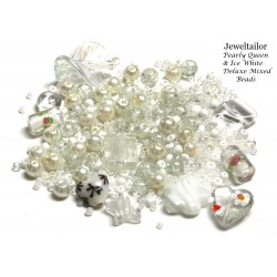 Pearly Queen & Ice White Deluxe Glass Bead Mix + FREE Bonus Metal Beads ~ 400+ Beads Including Pearls,Rare Lampwork, Seed + More