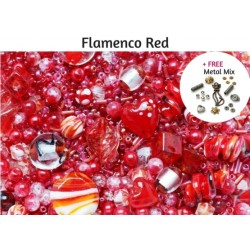 Flamenco Red Deluxe Glass Bead Mix + FREE Bonus Metal Beads ~ 400+ Beads Including Pearls,Rare Lampwork, Seed + More