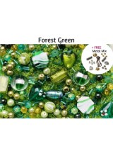 Forest Green Deluxe Glass Bead Mix + FREE Bonus Metal Beads ~ 400+ Beads Including Pearls,Rare Lampwork, Seed + More