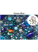 Ocean Blue Deluxe Glass Bead Mix + FREE Bonus Metal Beads ~ 400+ Beads Including Pearls,Rare Lampwork, Seed + More