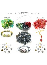 3 Packs of Deluxe Mixed Glass Beads ~ Forest Green, Catwalk Black & Flamenco Red + 3 Packs of Metal Beads & FREE No Spill Bead Box ~ A Perfect Starter Mix For Jewellery Making