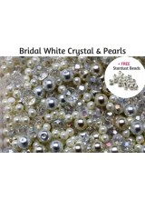Deluxe Bridal White & Ivory Pearls With Sparkly Crystal Glass + FREE Bonus Stardust Beads ~Ideal For Wedding, Bridesmaid  & Special Occasion Designs