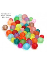 NEW! 100+ Vibrant Carnival Mixed Frosted Round Glass Beads 6-8mm With Soft Matt Finish ~ Jewellery Making Essentials