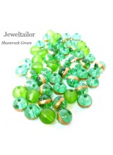 50-150g Stylish Shamrock Green Mixed Glass Beads 8mm With 10 FREE Silver Plated Spiral Bonus Beads