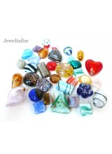 1-5 Bags Of Fancy Foil & Lamp Work Mixed Glass Beads ~ Ideal For Unique Creations