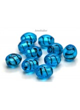 NEW! 20-60 Stylish Blue Stripe Lampwork Glass Barrel Beads 14mm ~ Stylish Jewellery Making